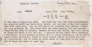 John Gurdon's Science Report 1949